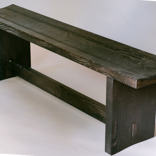 Scorched oak bench