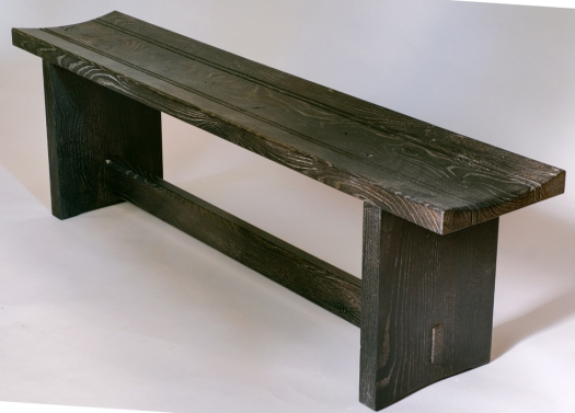 Scorched oak bench